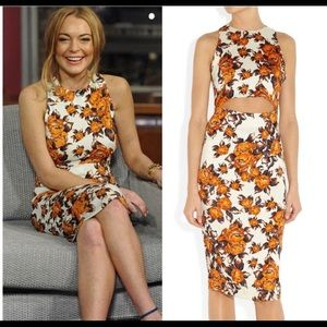 SUNO | orange floral open mid dress 2